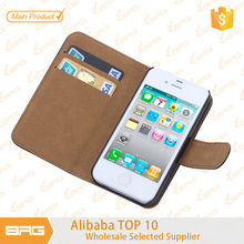 BRG Cheaper Price PU Leather Cover For iPhone 4 Phone Case With Credit Card Holder