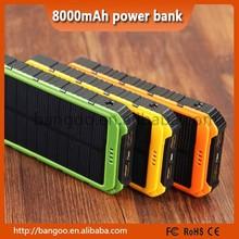 2015 high quality 8000mAh solar power bank, waterproof solar power bank, solar cell power bank