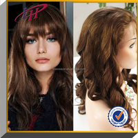 Wholesale brown hair loose wave 100% brazilian hair full lace wig with baby hair