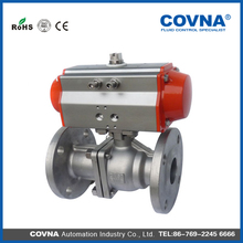 stainless steel pneumatic flange ball valve dn50 for flow controls