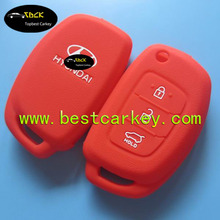 Well-Sold 3 button silicone car key cover for hyundai car key cover in red