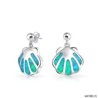 Fashion Jewelry Metal Blue Opal Gemstone Nautical Clam Shell Dangle Earrings