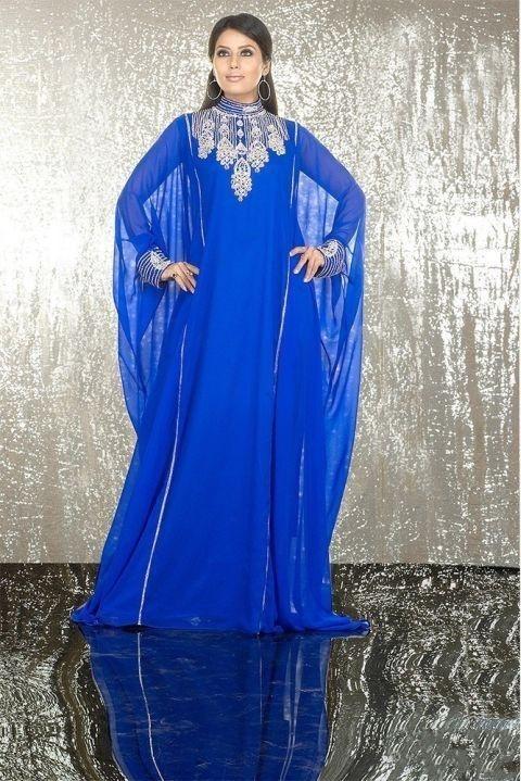 29  Special Design 2014 Princess Royal Blue Discount Arabic Dubai ABAYA KAFTAN Long Sleeve Chiffon Crystal Maxi Dresses Evening Gown185