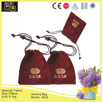 Red Color Nylon Draw String small velvet jewelry pouch