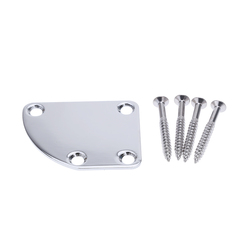 Universal Guitar Neck Plate with 4 Screws for Strat Tele Jaguar Deluxe Style Chrome Finish