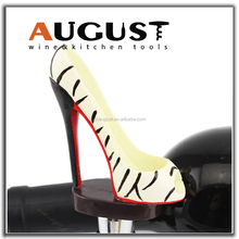 August WS-6312 Black and Cream-coloured Leopard Print High Heel Shoe Wine Bottle Stopper