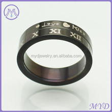 High Quality Stainless Steel Jewelry Black Love Kiss Roman numerals Ring