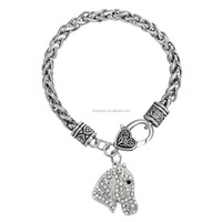Popular Antique Silver Wheat Chains Clear Crystal Horse Head Animal Charm Bracelet