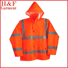 ANSI Class 3 Polyester Rain Jacket with Silver Reflective Orange