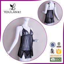 Wholesale Fitness Lovely Girl Ribbon Tie Lingerie Black And Yellow