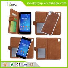 2 in 1 wallet style genuine leather mobile phone case for Sony Xperia Z2 L50W