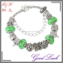 Lucky Charm Bracelet with Four-leaf Clover Beads and Butterfly Crystal Bead as Gift for Girls