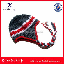 Earflap Beanie Hat with Custom Knitted Pattern Logo