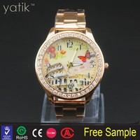 lady fashion dress watch online wholesale shop plated gold wristwatches crystal rhinestone designed watch