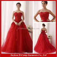 WD-1910 Strapless lace appliqued ball gown winter wedding dresses red wedding dress pictures