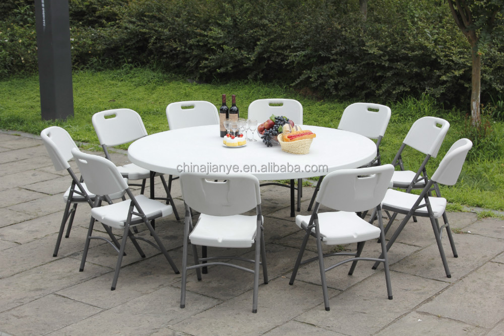 180 cm white plastic folding outdoor round table buy - Table ronde 180 cm diametre ...