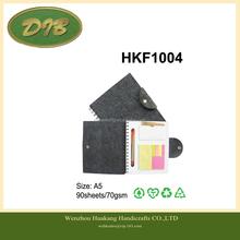 felt series felt cover notebook with pen memo card pocket A5 90sheets/70gsm--HKF1004