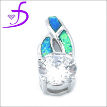 China opal jewelry whoelsale 925 silver opal pendant with zircon charm rhdoium plated