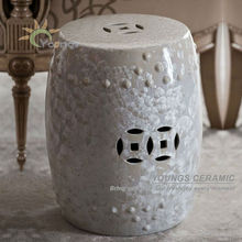 Special Chinese Ceramic White Crystalline Glazed Stool Side Tables