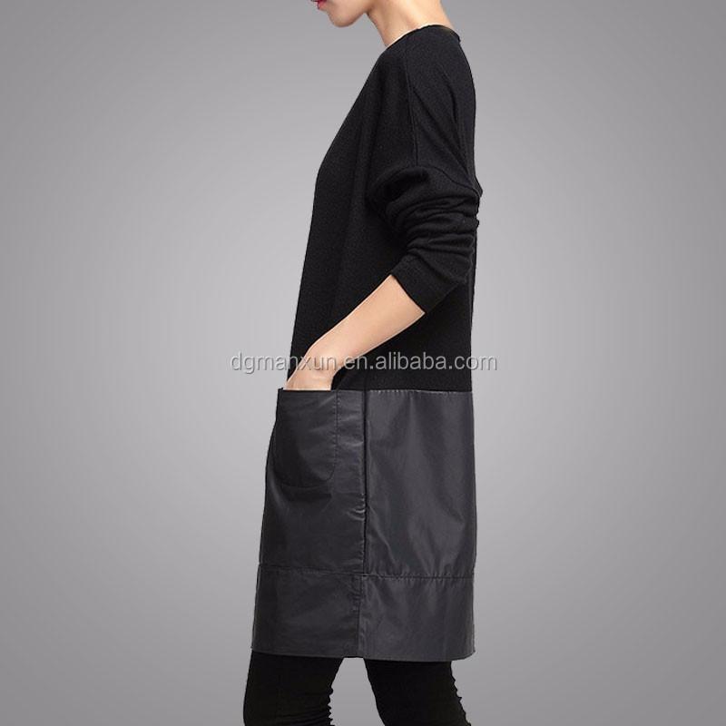 Handmade Customized High Quality Fashion Women Black Block Clothing Long Sleeve Round Neck Apparel Loose Elegant Garment (5).jpg