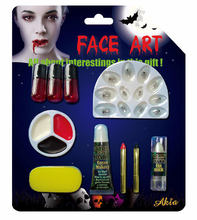 halloween makeup set with fake nail, fake blood, face paint and lipstick the one glow in the dark