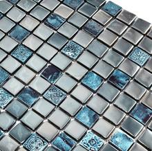 Metallic Grey and Blue Tones Modern Artistic Glass and Ceramic Mosaic Tiles