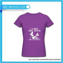 V neck promotioanl logo printed custom make t shirt