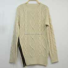 Irish Aran Cable Knit Acrylic Women Wool Sweater with Side Zipper