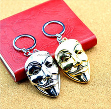 Wholesale cheap high quality Popular fashion toys metal face mask keychains /Gold Color V for Vendetta Mask Metal Keychain