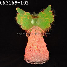 Color changing glass angel for wedding decorative light