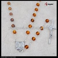 high quality 6mm catholic rosary brown amber imitation acrylic beads rosary