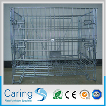 3 skids steel pallet/custom industrial galvanized folding steel cage/wire mesh containers cages
