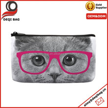 Cat Face with Fuschia Glasses Print Small Cosmetic Bag Wristlet Lovely Big