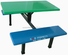 China Restaurant Furniture School Canteen Table 4 Seats Folding Dining Table with Metal Frame