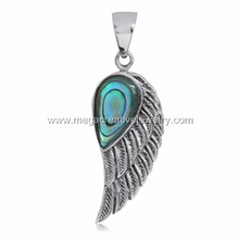 Stainless Steel Angels Wing Abalone Shell Pendant Necklace Wholesale