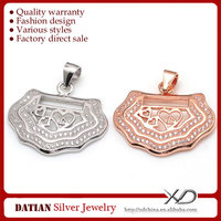 XD P788 Fancy Lock Design 925 Silver Charms with CZ Stones
