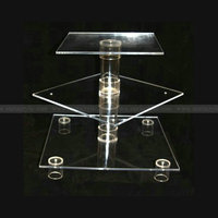 Square 3 tiers Acrylic Birthday cake Riser Lucite wedding cake display party cake stand