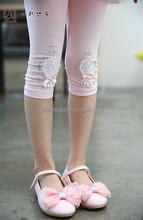Summer girls brand wholesale leggings Pure cotton bow set auger five minutes of pants