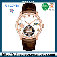 FS FLOWER - Top Design Brands Quality Mechanical Watch Fly Tourbillon Watches Italy Leather Strap Arab Number