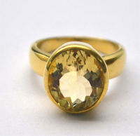 Solid 925 Sterling Silver Genuine Citrine Half Micron Gold Plated handmade 4.5 Ring Size Jewellery