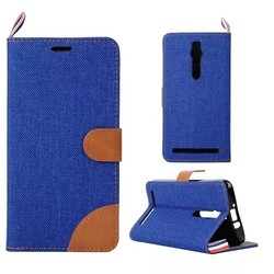 Retro Vintage Jeans PU Leather Flip Wallet Case Cover For Asus ZenFone 2