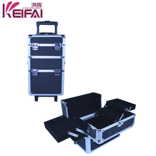 Factory Customizable Black Aluminium 4 Layers Hairdressing Carry Cases With Legs