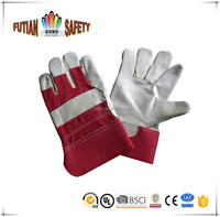 FTSAFETY cow grain leather working gloves red cuff full palm driving gloves