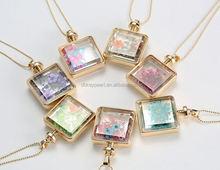 2015 new Art 3D Flower heart Murano Lampwork Glass Pendant Necklace jewelry