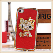 Cute hello Kitty case electroplating hard phone case with crystal diamond for iphone 5s back cover case