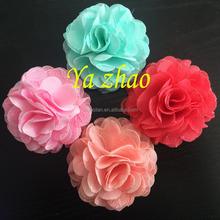 2015 nova Sytle Chiffon do laço do cabelo flor flor de tecido para roupas vestido 12 color em estoque