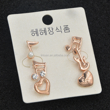 Korea style musical notes gold heart earring stud