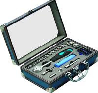 40pcs aluminum case with big sockets and ratchet screwdriver handle bits holder Promotional tool set