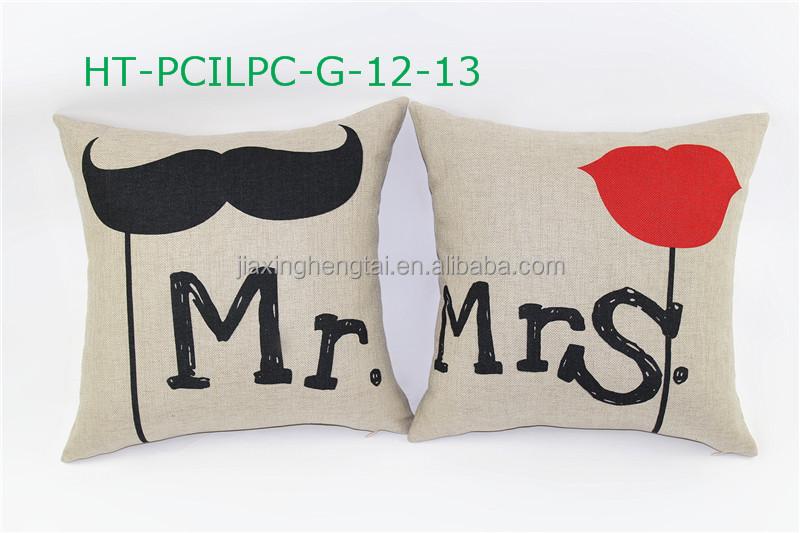 gros stock lovers couple linge coussin tissu housse de coussin d 39 impression num rique sur. Black Bedroom Furniture Sets. Home Design Ideas