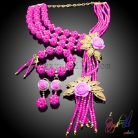 Crystal Pink Beads African Beads Jewelry Sets New Design Beaded Custom Jewelry fashion designer inspired cable jewelry